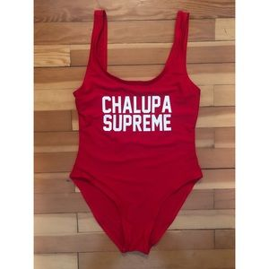 "One Piece ""Chalupa Supreme"" Red Swimsuit"